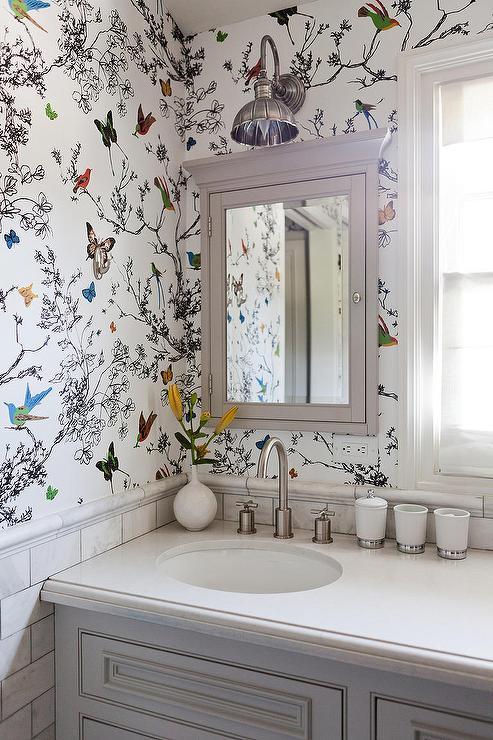 schumacher-birds-and-butterflies-multi-wallpaper-gray-inset-medicine-cabinet