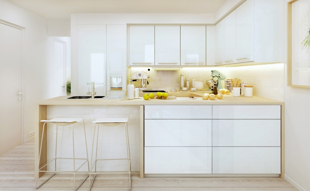 Cool-White-Kitchen-Design-With-Smart-Storage-Solutions-With-glossy-white-kitchen-island-and-white-stools